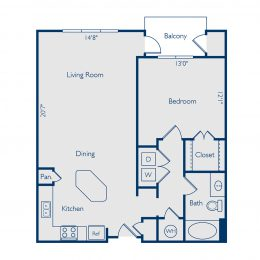 Bell Vinings apartments one bedroom one bathroom floor plan