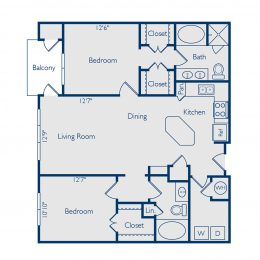Bell Vinings apartments two bedroom two bathroom floor plan