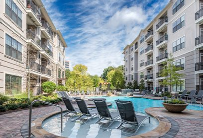 Bell Vinings apartments pool and lounge chairs