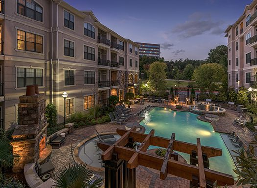 Bell Vinings apartments pool at night