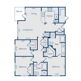 Bell Vinings apartments three bedroom two bathroom floor plan